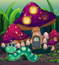 A worm near the mushroom house illustration of Stock Image