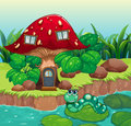 A worm near the red mushroom house illustration of Stock Photography