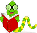 Worm reading book Stock Photo