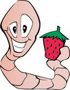 Worm and strawberry Stock Photography
