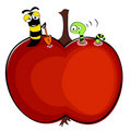 Worms and apple illustration Royalty Free Stock Photography