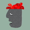 Worms on a head. Royalty Free Stock Photo