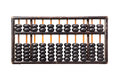 Worn aged wooden abacus white background Stock Images