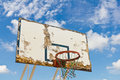 Worn basketball board old and against blue sky Royalty Free Stock Photos