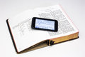 Worn Bible and Smartphone - Genesis Royalty Free Stock Photo