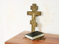 Worn bible with two bronze crosses Royalty Free Stock Photo