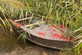 Worn boat marshy riverside with Stock Photo