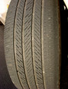 Worn Car Tire with Irregular Used Bald Low Thread Stock Photo