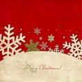 Worn Christmas Card With Snowf...