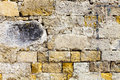 Worn grunge ruined surface bricks wall concrete material an old grungy and dirty with yellow facade Royalty Free Stock Photography