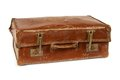 Worn old suitcase photo of an leather over a white background Royalty Free Stock Photo