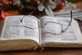 Worn Open Bible with Glasses Royalty Free Stock Photo