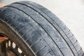 Worn out car tire tread Royalty Free Stock Photo