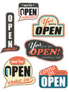 Worn_out_open_signs Imagens de Stock Royalty Free