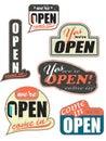Worn_out_open_signs Imágenes de archivo libres de regalías