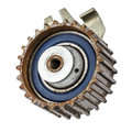 Worn out pulley of timing belt old the internal combustion engine Royalty Free Stock Image