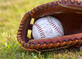 Worn Softball in Mitt Royalty Free Stock Photo