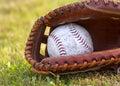 Worn Softball in Mitt Stock Photo