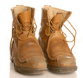 Worn work boots Royalty Free Stock Photo