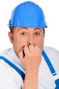 Worried builder Stock Image