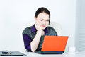 Worried business woman using laptop Royalty Free Stock Photos