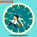Worried executive running against the time business life vector illustration Royalty Free Stock Photography
