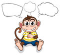 A worried monkey illustration of on white background Royalty Free Stock Image