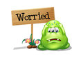 A worried monster beside the wooden signboard illustration of on white background Royalty Free Stock Images