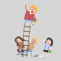 Worried students on a ladder