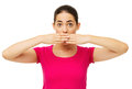 Worried woman covering mouth with hands portrait of over white background horizontal shot Stock Photos
