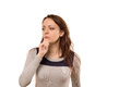 Worried woman with a sombre pensive look Royalty Free Stock Photo