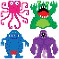 Worse nightmare terrifying monsters pixel art retro computer eight bit Royalty Free Stock Photo