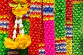 Worship garland colorful artificial for buddhism Stock Image
