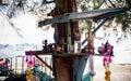 Worship platform of woman statue beckoning happy lot