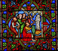 Worshiping virgin mary stained glass notre dame paris france jesus christ cathedral was built between and ad Stock Images