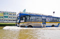 The worst flooding in nakhon pathom thailand nov large bus carried flood victims at phutthamonthon sai road during crisis on Royalty Free Stock Images