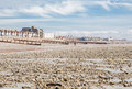 Worthing beach in a cloudy day low tide england view of the town and south coast west sussex Stock Photography