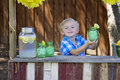 Would you like some lemonade little boy offering a glass of Royalty Free Stock Images
