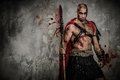 Wounded gladiator in red coat holding spear Royalty Free Stock Photo