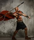 Wounded gladiator with spear in red coat throwing Royalty Free Stock Photography
