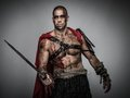 Wounded gladiator with sword covered in blood on grey Royalty Free Stock Photography