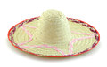 Woven bamboo hat on white background Royalty Free Stock Photo