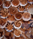 Woven baskets in botsawna hand patterned made by local women out of reeds Royalty Free Stock Photography