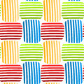 Woven colored stripes seamless pattern striped interlocking squares background tile Stock Photos