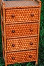 Woven handmade furniture in details. Royalty Free Stock Photo