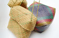 Woven wicker basket bunch of traditional baskets for different use Stock Photo