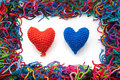 Woven woolen hearts Royalty Free Stock Images