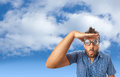 Wow expression on the sky with clouds young boy a surprised Royalty Free Stock Photo