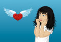 Wow. Girl looking surprised on heart with wings and shows hands