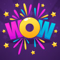 Wow lettering sign with color confetti